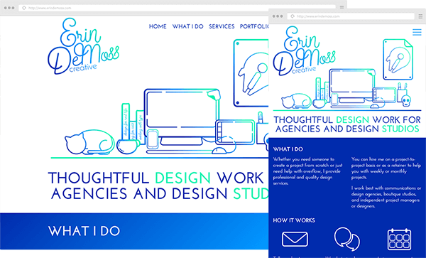 Erin DeMoss Creative Website Screenshots