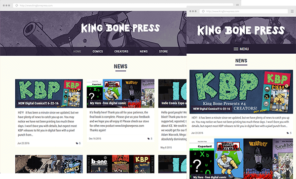 King Bone Press Website Screenshots